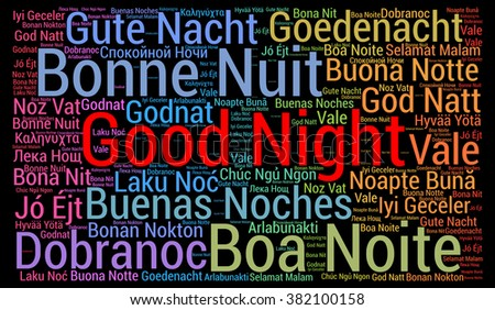 Good night word cloud in different languages