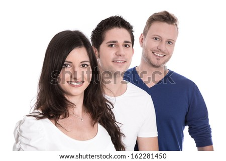 Good team work - happy trainees in a row isolated on white background - young men and woman