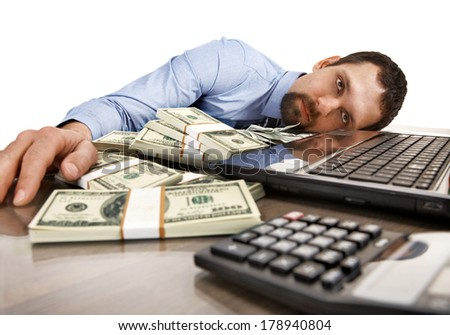 Good time to sleep / young man in shirt and tie asleep on workplace - isolated on white background  - stock photo