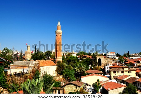 Good view on the panorama of the south town - stock photo