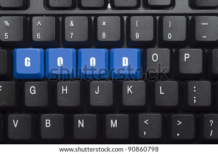good word on blue and black keyboard button
