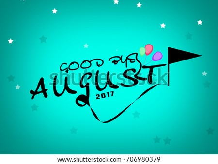 Awesome Goodbye August Lettering Colorful Background
