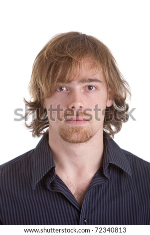 Goodlooking young caucasian man with half long hair on white background - stock photo
