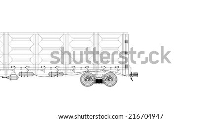 Goods wagon , railway carriage, body structure, wire model
