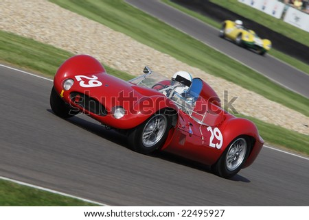 GOODWOOD, ENGLAND -  SEPTEMBER 20, 2008: Unidentified driver competing in a classic Maserati sportscar at the Goodwood Revival event 20 September 2008 at the Goodwood Circuit, England, UK