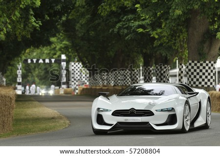 GOODWOOD, UNITED KINGDOM - JULY 3: Citroen GT Concept Car drives up the hill at the Goodwood Festival of Speed in the United Kingdom on July 3rd 2010 in Goodwood, UK - stock photo