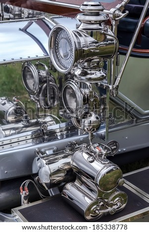 GOODWOOD, WEST SUSSEX/UK - SEPTEMBER 14 :Close-up of lights on a vintage Rolls Royce at Goodwood on SEPTEMBER 14, 2012