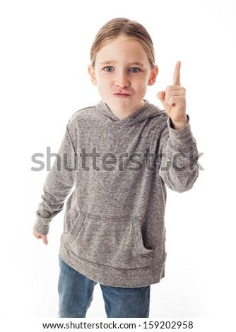 Goofy boy on white - stock photo