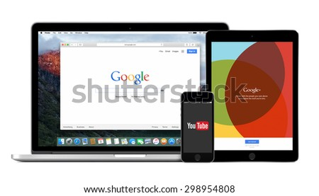Google products multi devices set with web Google search on Apple Macbook Pro, YouTube app on iPhone 5s and Google Plus on iPad Air2. Isolated on white background. Varna, Bulgaria - February 02, 2015. - stock photo