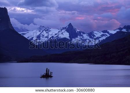 Goose island in glacier national park - stock photo