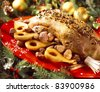 Goose with spices,chestnuts and pears - stock photo