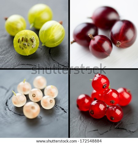 Gooseberries and currants, collage - stock photo