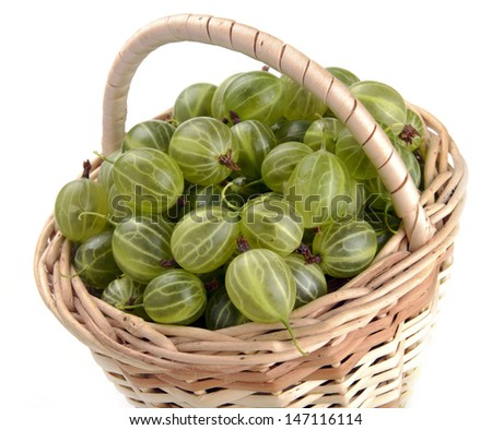 gooseberries in a basket on a white background