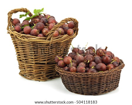 Gooseberries in basket on a white background