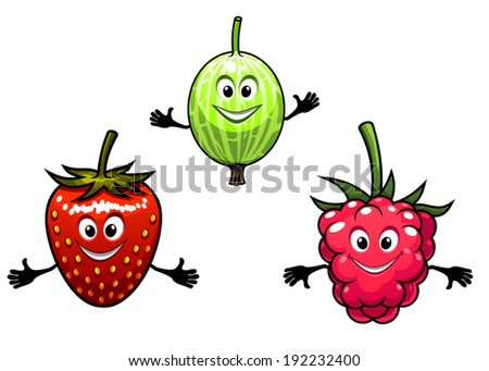Gooseberry, raspberry and strawberry berries logo in cartoon style. Vector version also available in gallery - stock photo