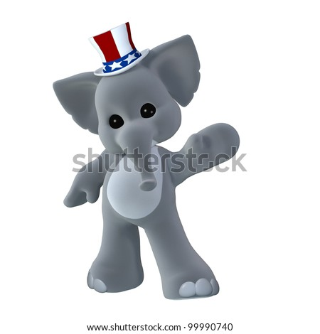 GOP Political Elephant Waving. Elephant wearing a red, white, and blue hat. Isolated on a white background. - stock photo