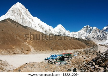 Gorak Shep village and Kala Patthar view point on Everest, Pumo Ri and Nuptse - Nepal  - stock photo