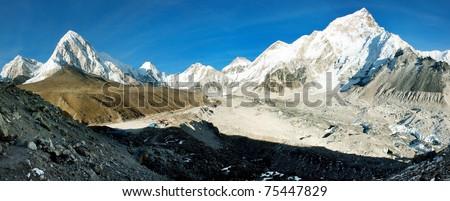 Gorak Shep village and Kala Patthar view point on Everest, Pumo Ri and Nuptse - Nepal - stock photo