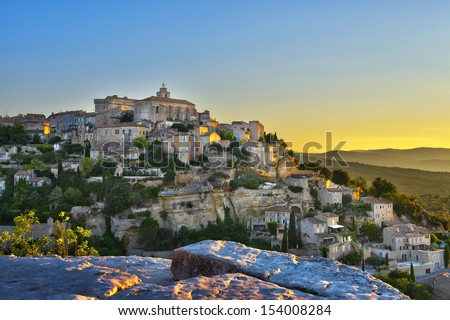 Gordes, one of the most beautiful and most visited French villages  - stock photo