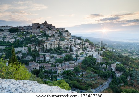 Gordes village during sunrise - stock photo