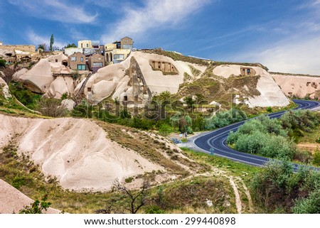 Goreme cave town, Cappadocia, Anatolia, Turkey. Volcanic mountains in Goreme national park. - stock photo