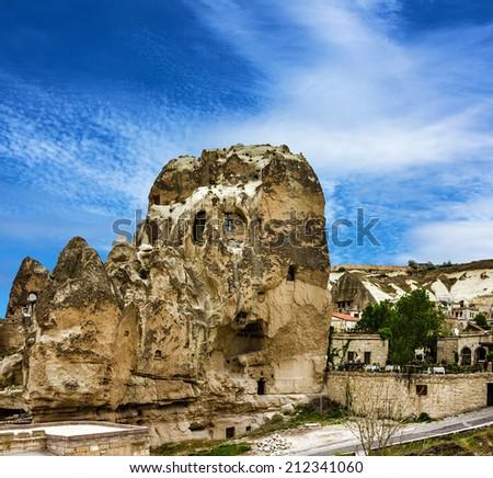 Goreme town - cave hotel in Cappadocia, Turkey - stock photo