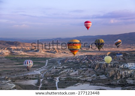 GOREME, TURKEY - APRIL 13, 2014: Cappadocia, Turkey.The greatest tourist attraction of Cappadocia , the flight with the balloon