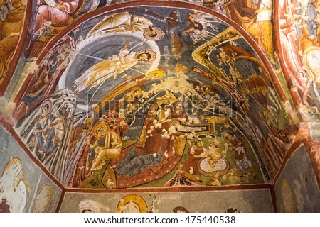 GOREME, TURKEY - JUNE 23, 2015: Church from the Byzantine period built by the Cappadocian Greeks in Goreme national park, Central Anatolia, Turkey