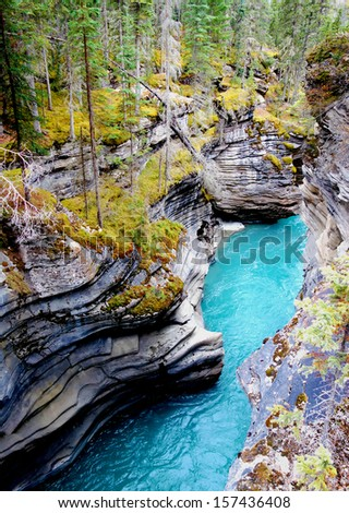 Gorge at Athabasca Falls in Jasper National Park - stock photo