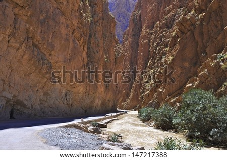 Gorge in the Gorges du Dad�¨s, in the High Atlas mountains, Boumalne Dades, Souss-Massa-Draa, Morocco - stock photo
