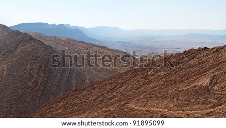 Gorge in the Large Crater (Makhtesh Gadol) in Israel's Negev desert - stock photo