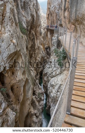 Gorge of 'El Caminito del Rey' (King's Little Path), one of the most Dangerous in the world inside canyon, closeup of new track
