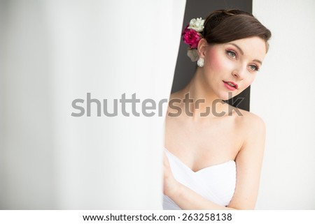Gorgeous bride on her wedding day (color toned image; shallow DOF) - stock photo