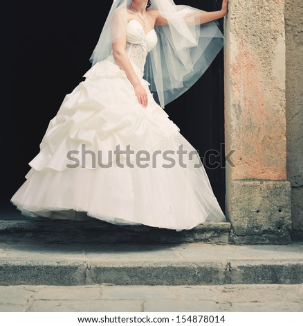 gorgeous  bride posing on her wedding day, summertime - stock photo
