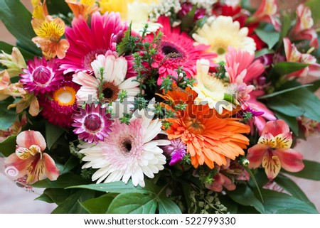 gorgeous bright summer bouquet with colorful gerberas