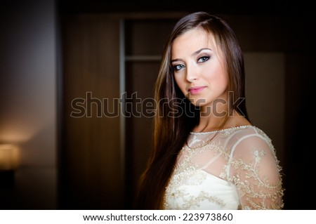 Gorgeous brunette woman with long hair and blue eyes. Gorgeous bride portrait in her wedding dress. Beautiful bridal makeup and simple hairstyle. Bride to be smiling portrait - stock photo