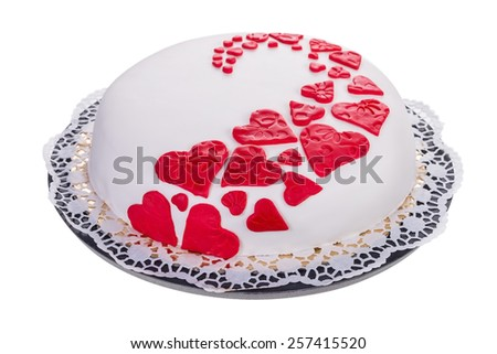 Gorgeous cake for his beloved. With red hearts. - stock photo