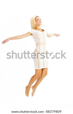 gorgeous caucasian woman over white background studio shot