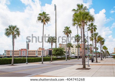 Gorgeous city street view with empty street and palms on the side of it - stock photo
