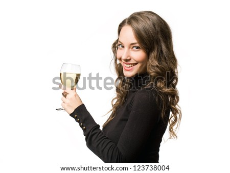 Gorgeous festive young brunette woman having a glass of wine. - stock photo