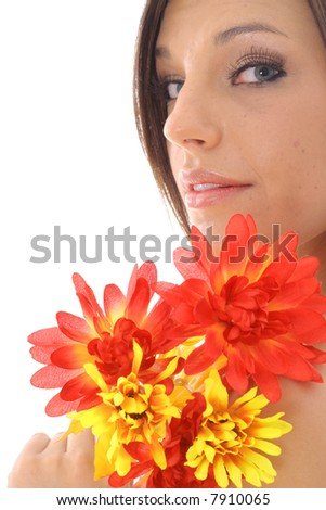 gorgeous girl holding flowers - stock photo