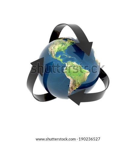gorgeous globe earth recycling isolated - Elements of this image furnished by NASA