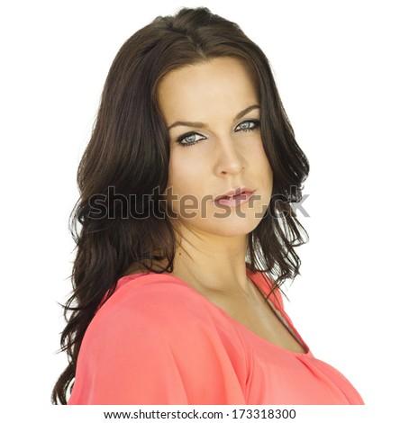 Gorgeous Hispanic Woman Portrait Isolated on white - stock photo