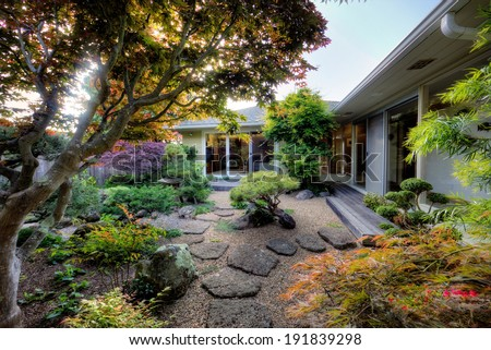 Gorgeous Japanese Zen garden in private home - stock photo