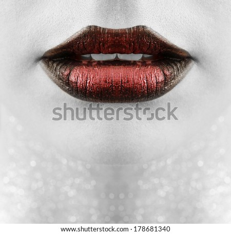 Gorgeous lips with professional makeup - stock photo