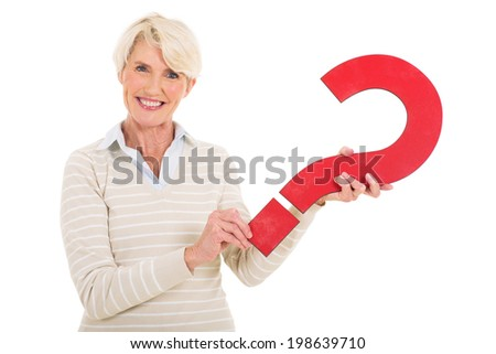 gorgeous middle aged woman with question mark symbol isolated on white - stock photo