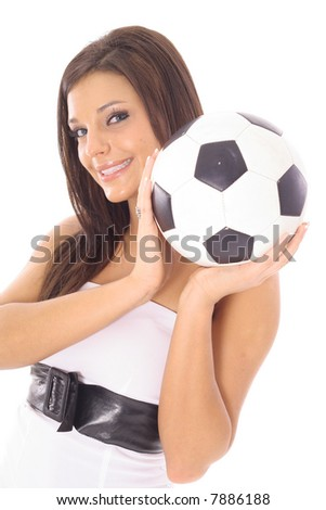 gorgeous model with a soccer ball