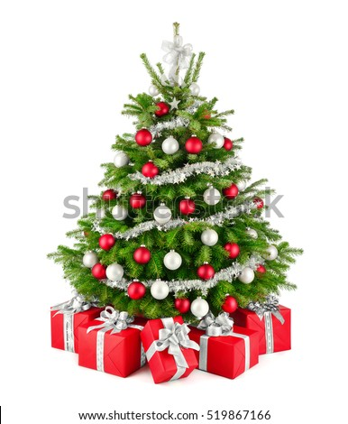 Gorgeous natural christmas tree red white stock photo for Red and silver christmas tree decorations