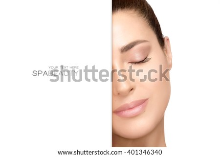 Gorgeous natural young woman face with a smooth unblemished complexion and serene expression with eyes closed suitable for skincare and spa concepts, isolated on white with copy space for text.  - stock photo