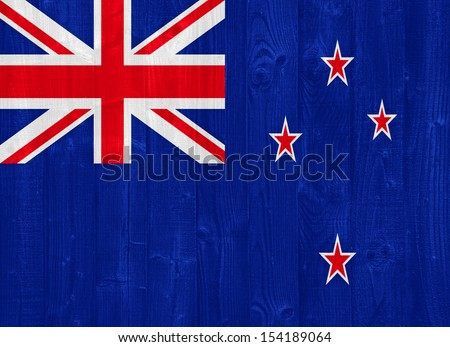 gorgeous New Zealand flag painted on a wood plank texture - stock photo